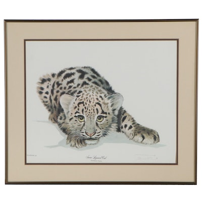 "Offset Lithograph after Jim Oliver ""Snow Leopard Cub,"" Late 20th Century"