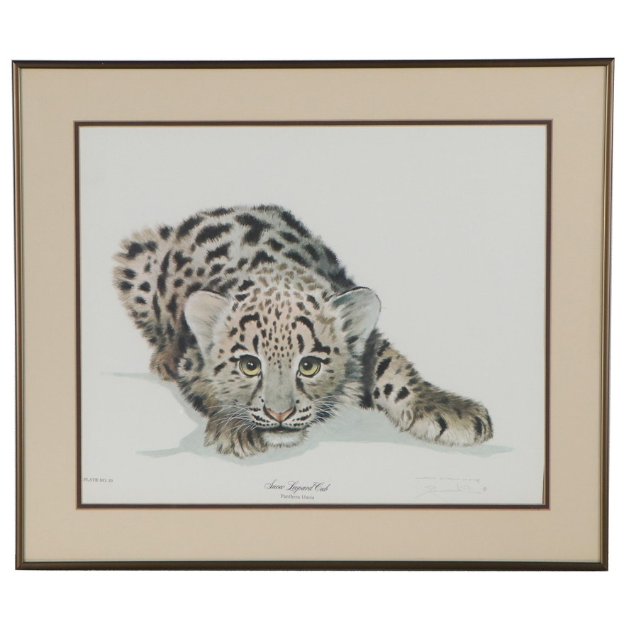"""Offset Lithograph after Jim Oliver """"Snow Leopard Cub,"""" Late 20th Century"""