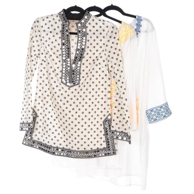 Tory Burch Sequin Fish Print and Shoshanna Embroidered Tunic Cover-Ups