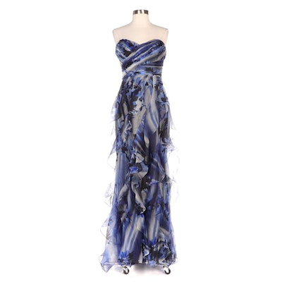 Badgley Mischka Collection Blue Floral Organza Cascading Ruffle Strapless Gown