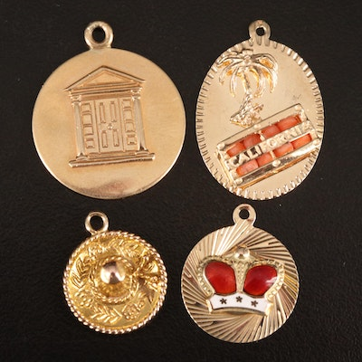 14K Coral and Enamel Charms Including Sombrero