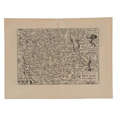 Matthias Quad Engraving Map of Northern Belgium, 1596