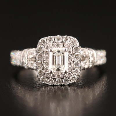 14K 1.30 CTW Diamond Double Halo Ring
