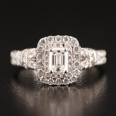 14K 1.30 CTW Diamond Double Halo Ring