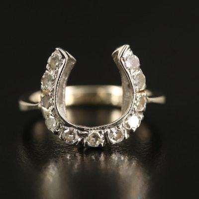 Edwardian 14K Diamond Horseshoe Ring