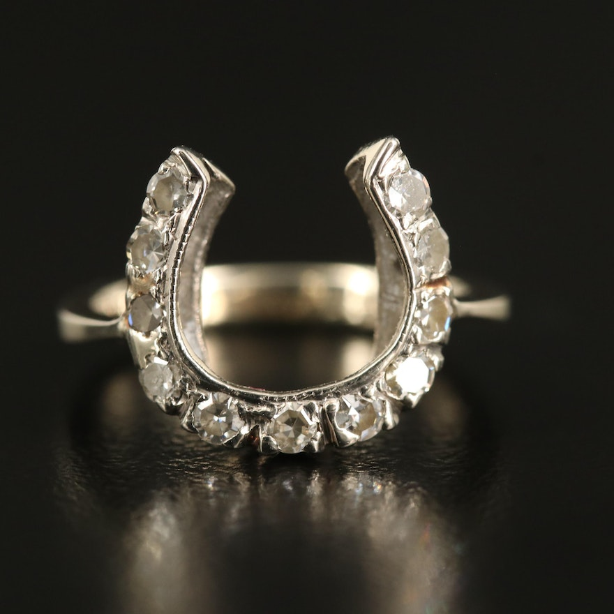 Edwardian 14K Diamond Horseshoe Ring