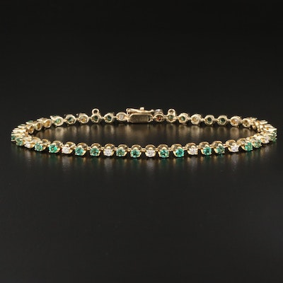 14K Diamond and Emerald Line Bracelet