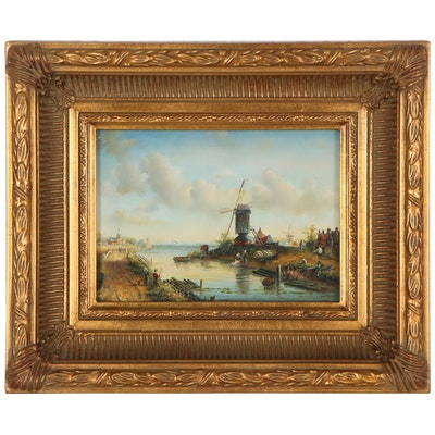 Miniature Oil Painting of Dutch Canal Scene