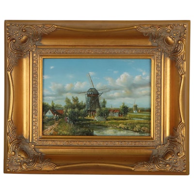 Miniature Oil Painting of Dutch Canal Scene with Windmill