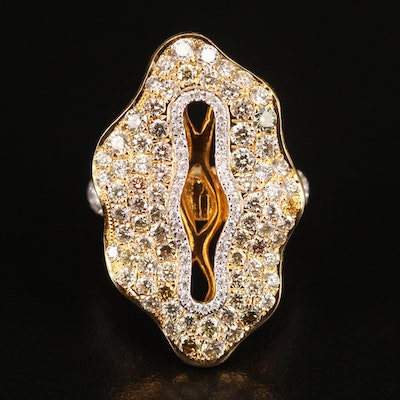 18K 3.11 CTW Diamond Openwork Ring with Scalloped Edges