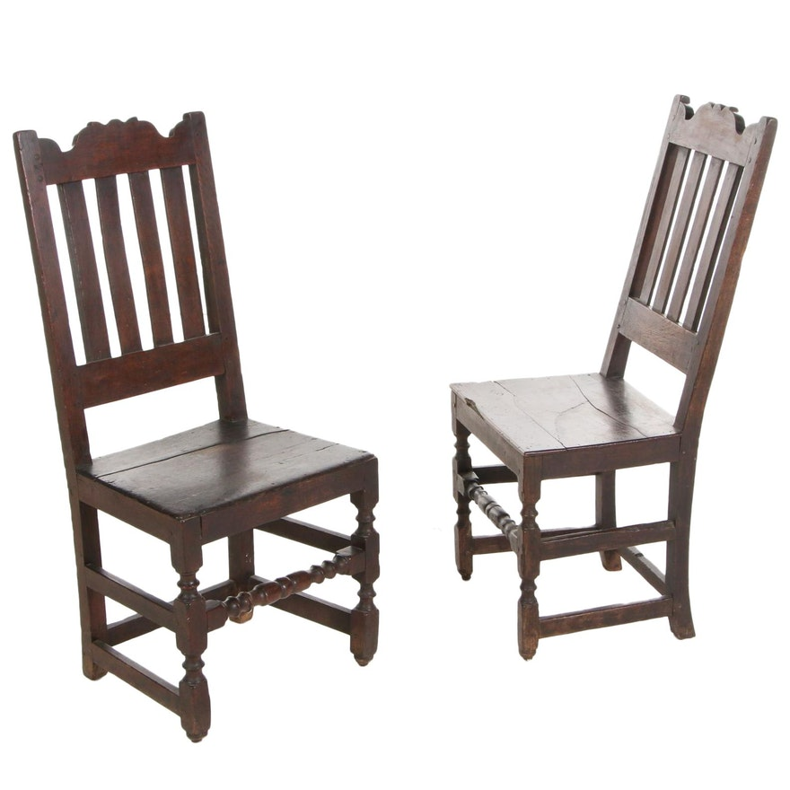 Pair of James II Oak Side Chairs, Late 17th Century