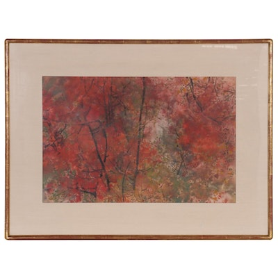Chen Chi Watercolor Painting of Trees in Bloom, 1975