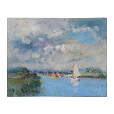 "Nino Pippa Oil Painting ""Provence - Sailboats on the Rhone"""