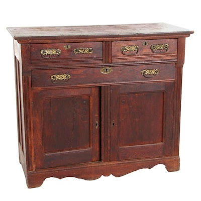 Victorian Oak Washstand, Late 19th/Early 20th Century