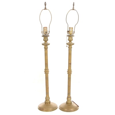 Pair of Converted Brass Candlestick Table Lamps