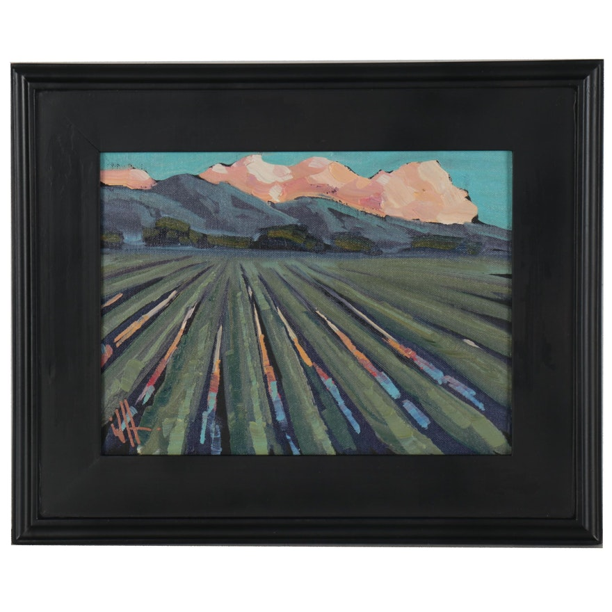 "William Hawkins Landscape Oil Painting ""Cool Rows,"" 2021"