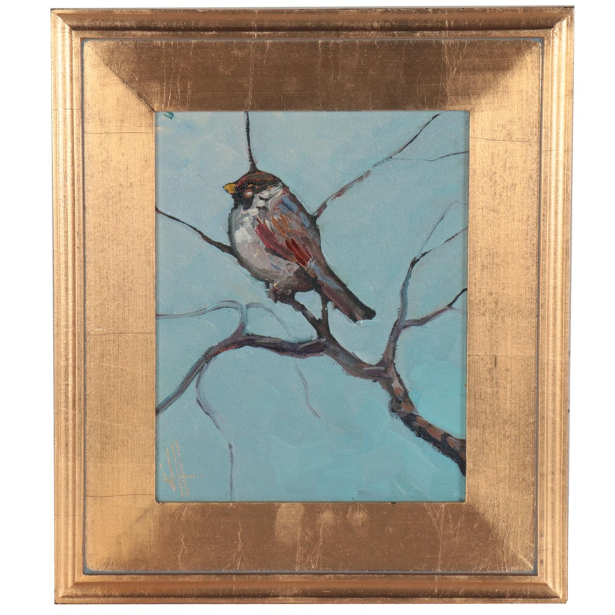 "William Hawkins Oil Painting ""Bird on Branch,"" 2021"