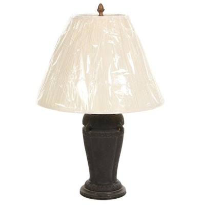 "Neoclassical ""Lavinite"" Molded Matte Black Table Lamp"