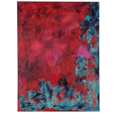 "Heidi Hines Mixed Media Painting ""All Souls Day,"" 21st Century"