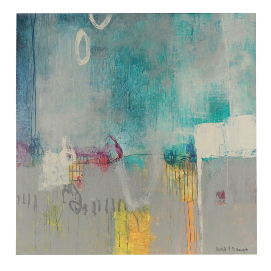 Ursula J. Brenner Abstract Acrylic Painting, 21st Century