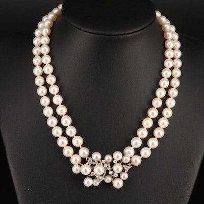 1960s 14K Double Strand Pearl and 1.22 CTW Diamond Necklace