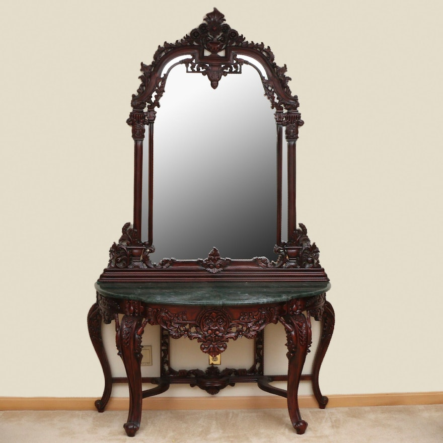 Rococo Style Carved Wood and Stone Top Pier Table and Mirror