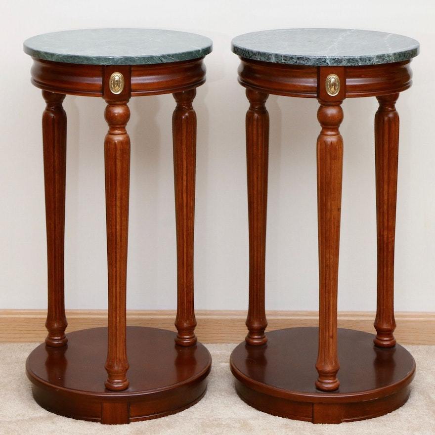 Pair of Empire Style Mahogany-Stained and Marble-Top Pedestals
