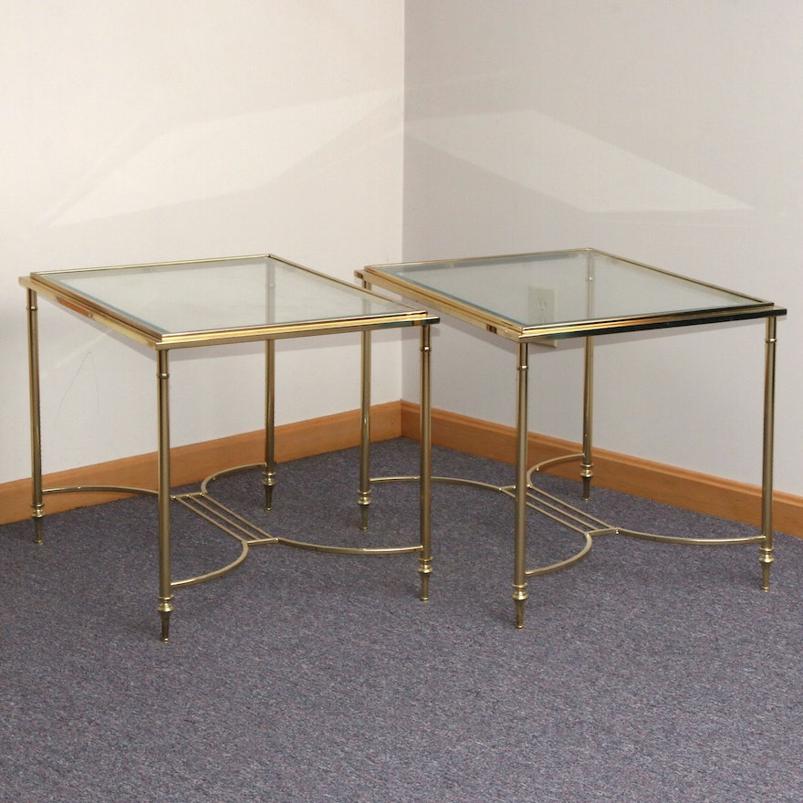 Pair of Contemporary Brass and Glass Top Side Tables