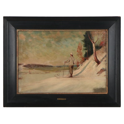Oil Painting of Figure in Snowy Landscape Attributed to Lars Haukaness