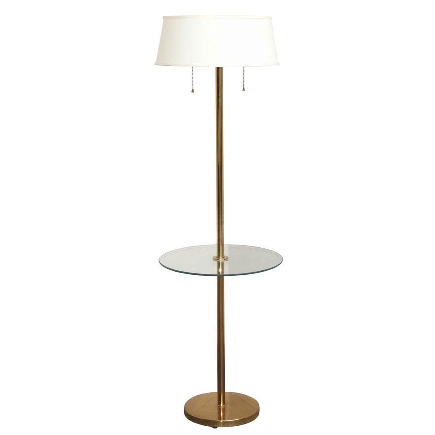 Mid Century Modern Brass and Glass Floor Lamp Table, Mid to Late 20th Century
