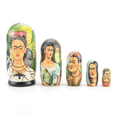 Handcrafted Russian Matryoshka Frida Kahlo Nesting Doll