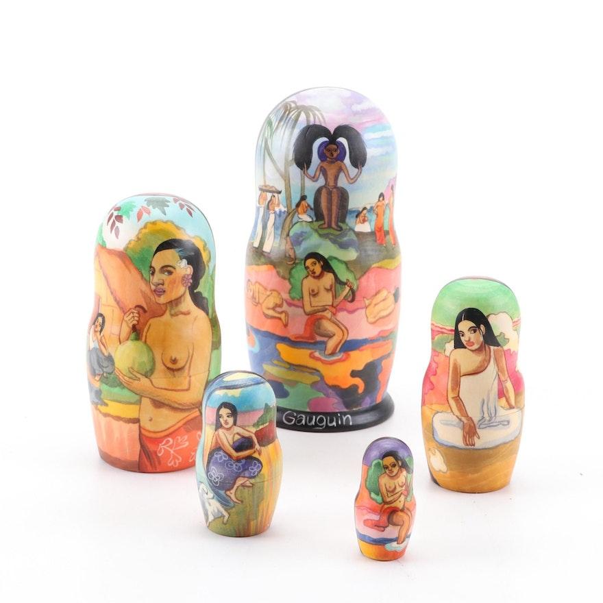 "Paul Gauguin ""Day of the God"" Inspired Russian Matryoshka Style Nesting Dolls"
