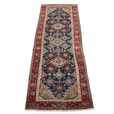 3'4 x 10' Hand-Knotted Persian Hamadan Wool Runner Rug