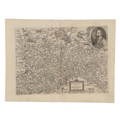 Matthias Quad Engraving Map of Bavaria, Germany, 1596