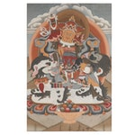 Monumental Tibetan Thangka Style Gouache and Ink Painting