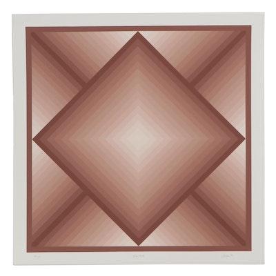 "Jurgen Peters Op Art Serigraph ""Diamond,"" 1977"
