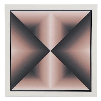 """Jurgen Peters Serigraph """"Pointed Encounters,"""" 1980"""