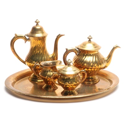 Gold Tone Metal Gadrooned Coffee and Tea Service, Mid to Late 20th Century