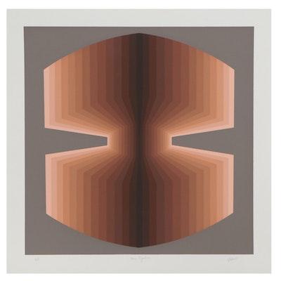"""Jurgen Peters Op Art Serigraph """"Fan Figuration,"""" 1980"""
