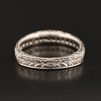 Platinum Diamond Hand Engraved Band with Euro Shank