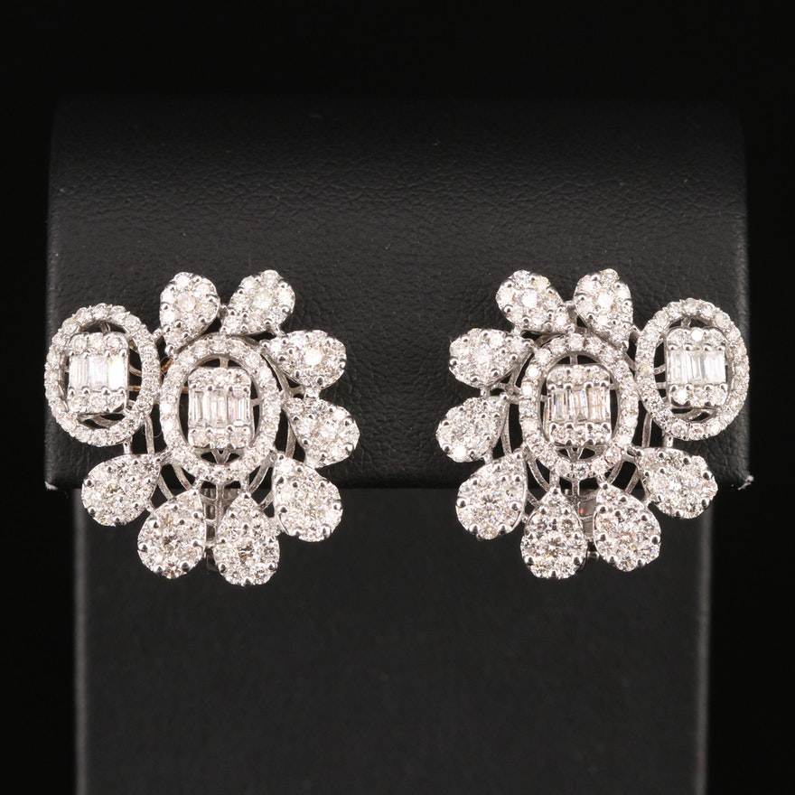 18K 3.50 CTW Diamond Earrings