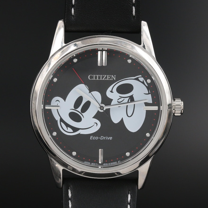 Citizen Eco-Drive Mickey Mouse Stainless Steel Wristwatch