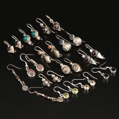 Sterling Dangle Earrings Including Rhodolite Garnet and Amethyst
