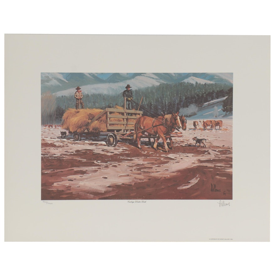 """Fred Fellows Western Offset Lithograph """"Cowboys Winter Work"""""""