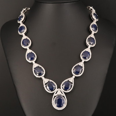 14K Sapphire and 15.89 CTW Diamond Necklace with Presentation Box