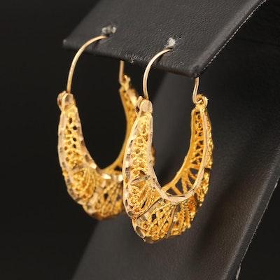 10K Wirework Hoop Earrings