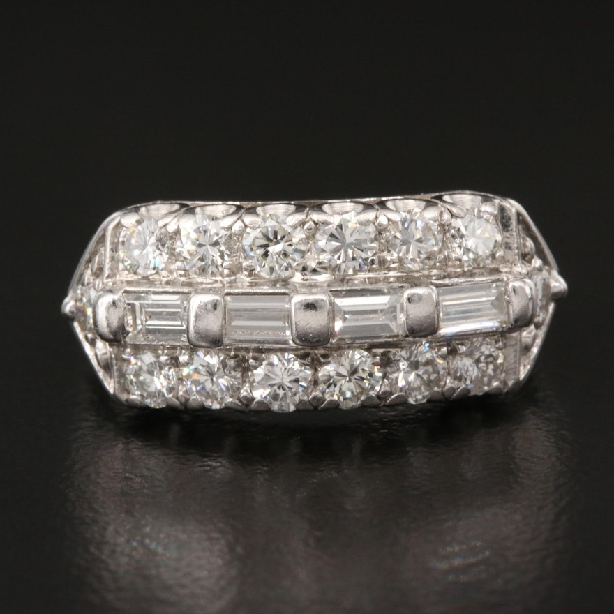 Vintage Platinum and 14K 1.13 CTW Diamond Ring