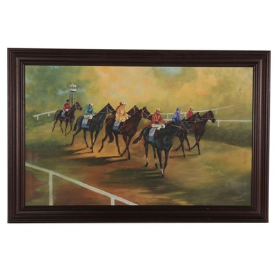 Sarah Owens Oil Painting of Horse Race, Late 20th Century