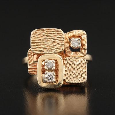Mid Century Style 14K Diamond Ring
