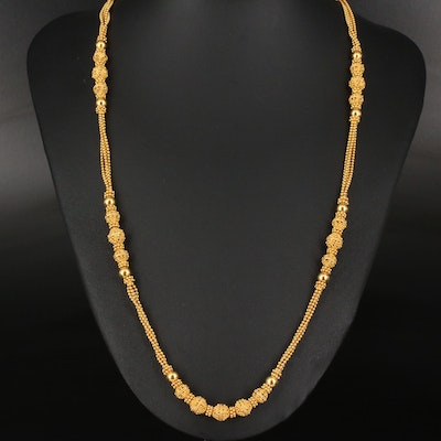 Etruscan Revival 22K Bead Necklace with Granulation